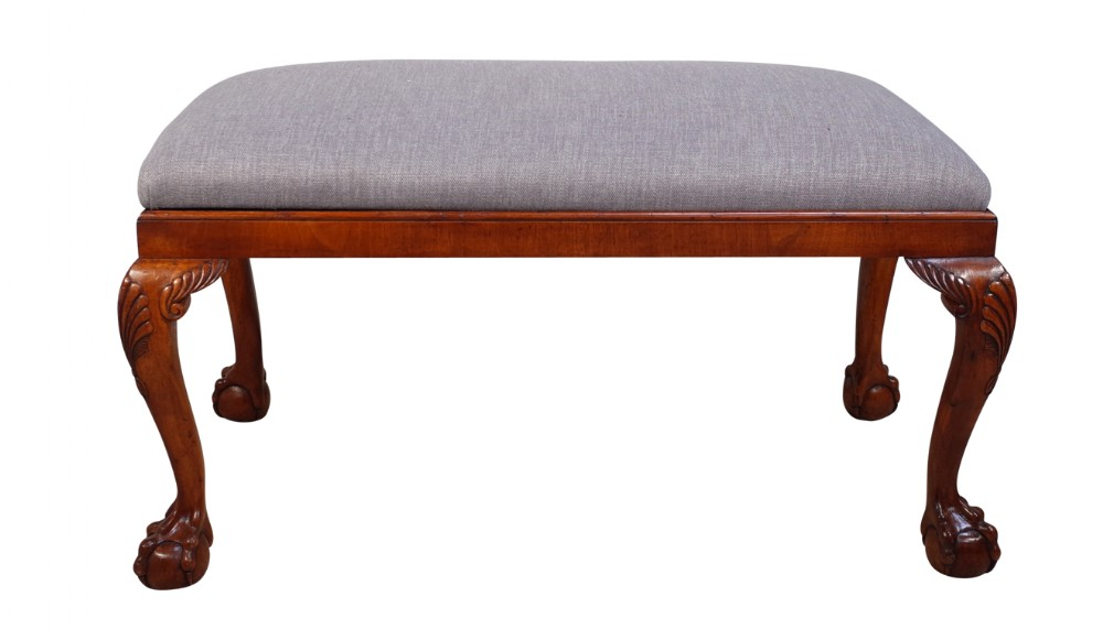 upholstered walnut stool