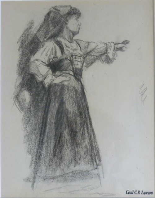 drawing of a young woman in paris cecil cp lawson