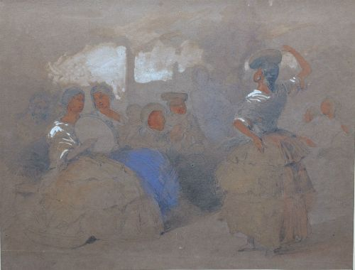 the dance 19th century watercolour sketch