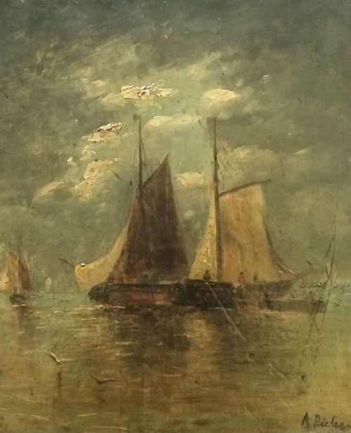 19th century marine antique oil painting