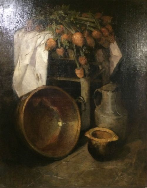 turnips on a stool 19th century oil painting