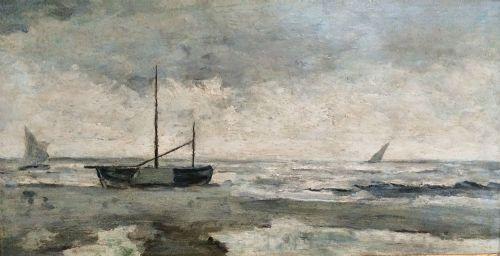 impressionist marine antique oil painting
