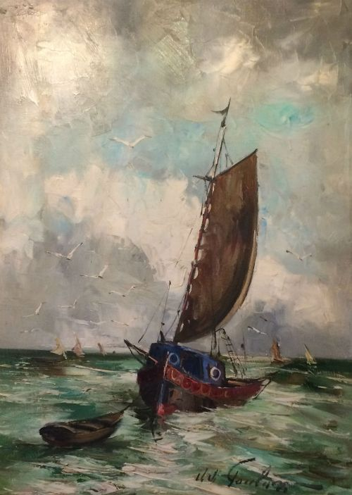 fishing boat antique oil painting