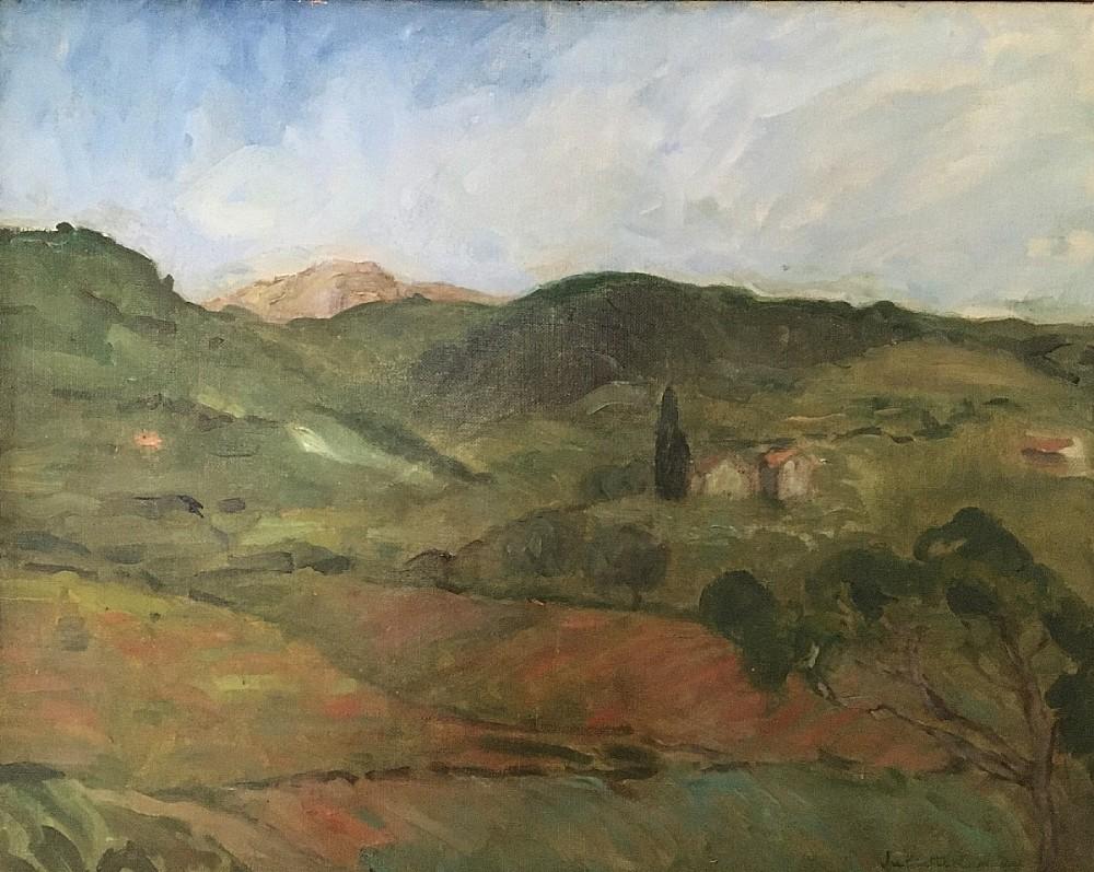 provencal landscape antique oil painting