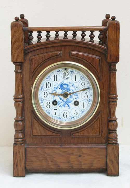 Charming oak arts and crafts mantel clock by japy freres for Arts and crafts mantle clock