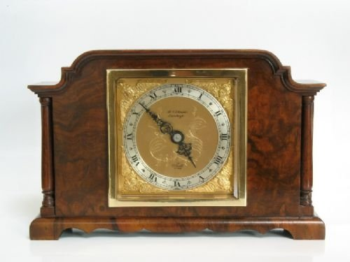 beautiful small elliott burr walnut mantel clock c1920