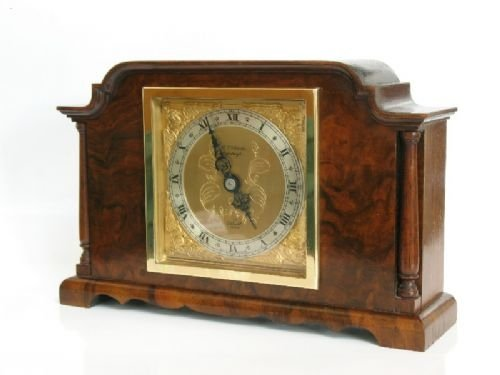 beautiful small elliott burr walnut mantel clock c1920 - photo angle #3