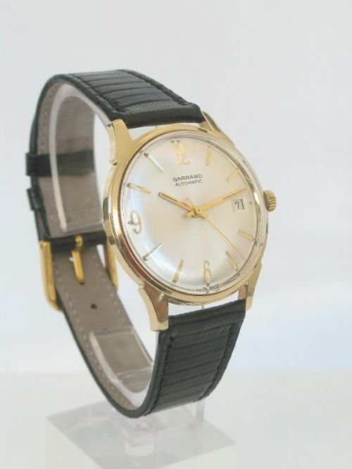 outstanding solid 9ct gold garrard automatic mens watch - photo angle #2