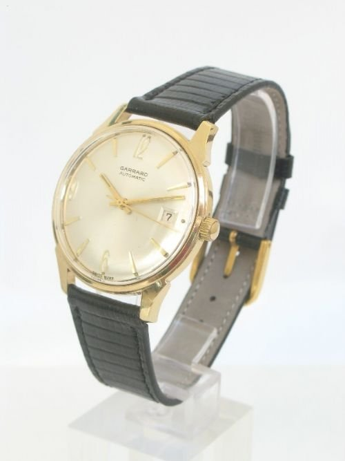 outstanding solid 9ct gold garrard automatic mens watch - photo angle #3