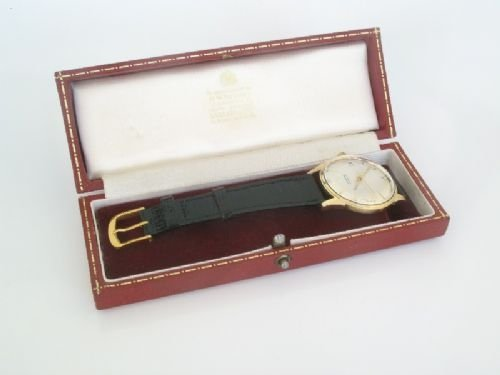 outstanding solid 9ct gold garrard automatic mens watch - photo angle #5