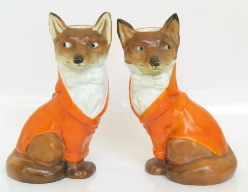 rare matching pair royal bayreuth hunting fox candlesticks candle holders