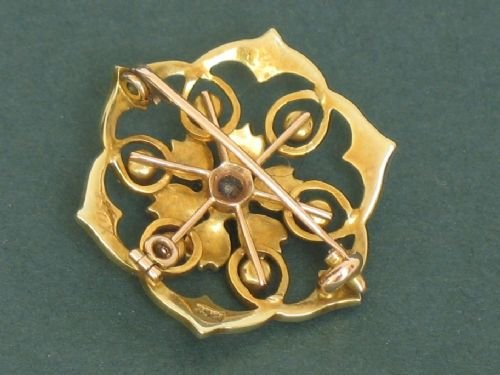 exquisite victorian 15ct gold and pearl snowflake pendant and brooch c1890 - photo angle #3