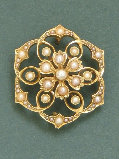 exquisite victorian 15ct gold and pearl snowflake pendant and brooch c1890 - photo angle #4