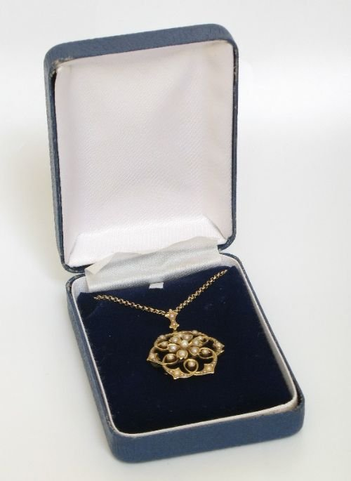 exquisite victorian 15ct gold and pearl snowflake pendant and brooch c1890 - photo angle #5
