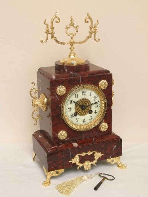 victorian french red marble mantel clock by samual marti and sons c1889