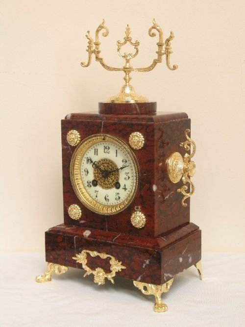 victorian french red marble mantel clock by samual marti and sons c1889 - photo angle #2