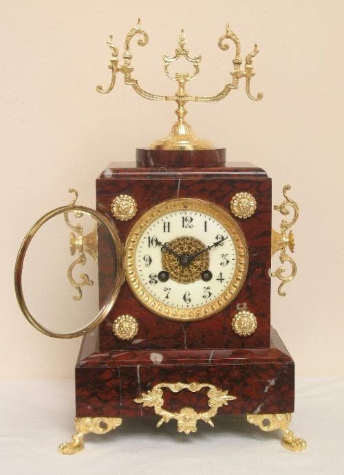 victorian french red marble mantel clock by samual marti and sons c1889 - photo angle #3
