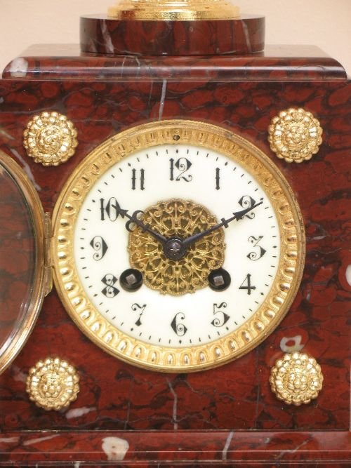 victorian french red marble mantel clock by samual marti and sons c1889 - photo angle #4