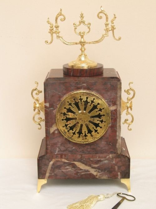 victorian french red marble mantel clock by samual marti and sons c1889 - photo angle #5