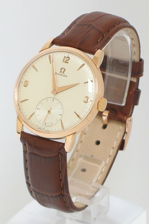 Rare Solid 18ct Rose Gold Omega Cal 267 Mens Watch 1956 57 221891