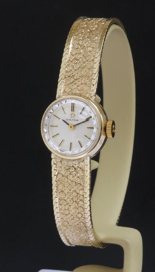 solid 9ct gold omega sapphette ladies cocktail watch c1965