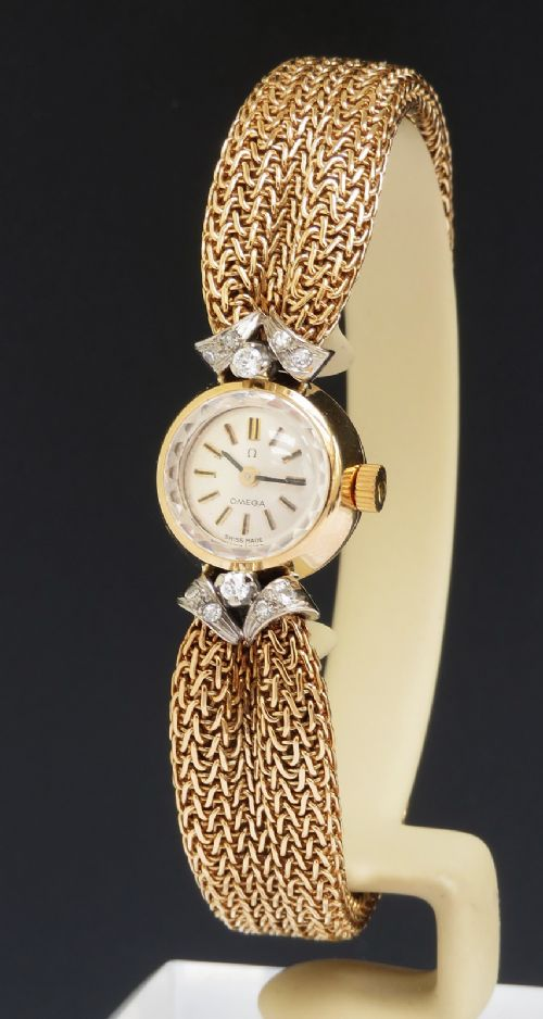 incredible solid 18ct gold and diamond omega ladies cocktail watch c1961