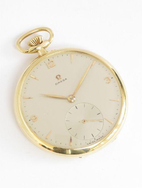 near mint 18ct gold omega pocket watch c1951