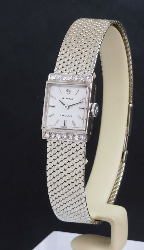 mint condition solid 18ct white gold and diamond rolex ladies watch c1961