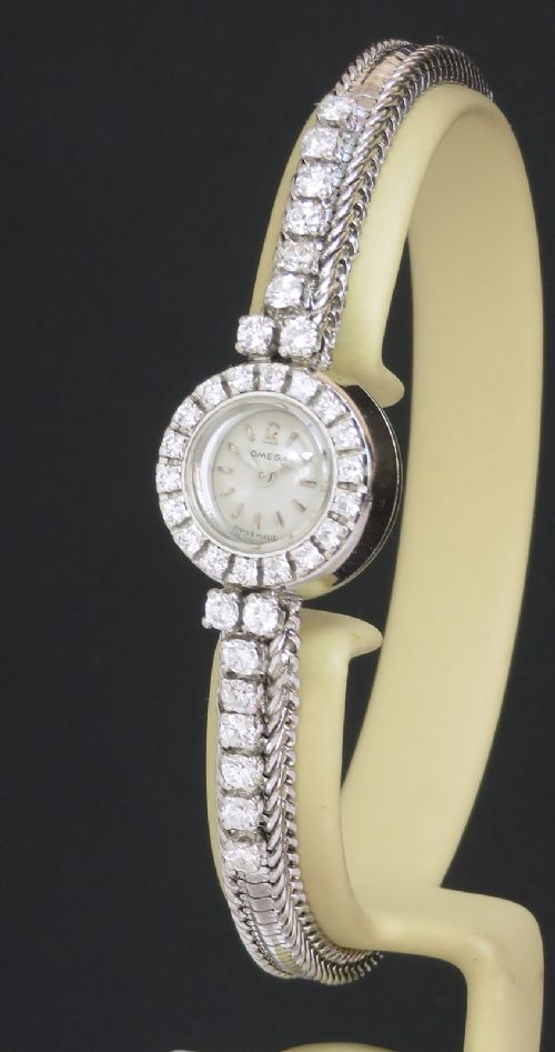 solid 18ct white gold and diamond omega ladies cocktail watch c1951