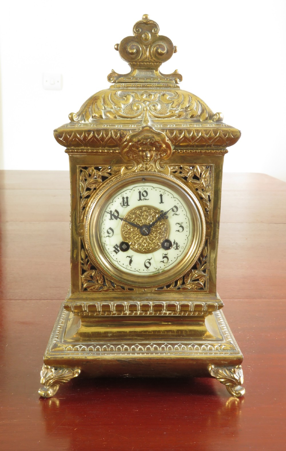 french brass clock by a d mougin c1880
