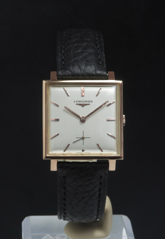 wonderful solid 18ct 18k rose gold longines square oversize mens vintage watch c1959