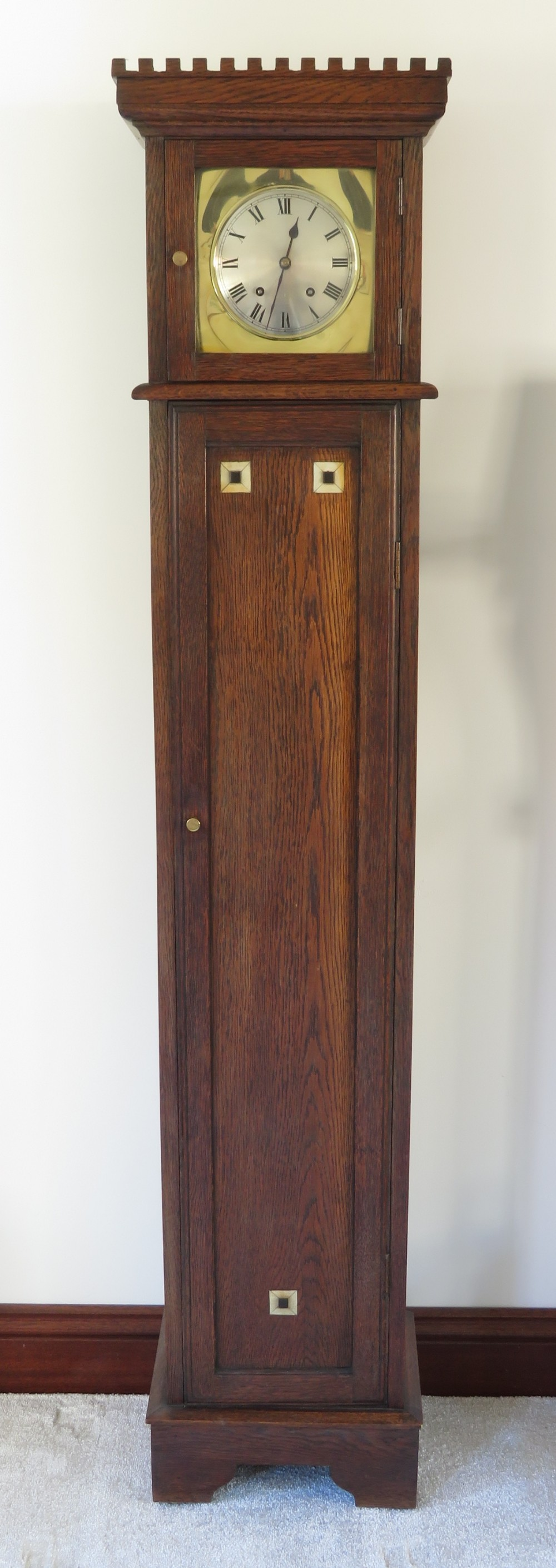 arts and crafts oak railway station waiting room bookcase clock by winterhalder and hofmeier c1890
