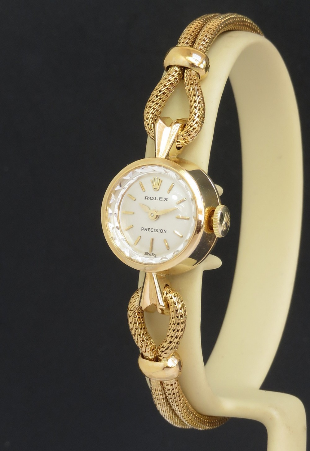 near mint solid 18ct gold rolex precision cocktail watch c1961