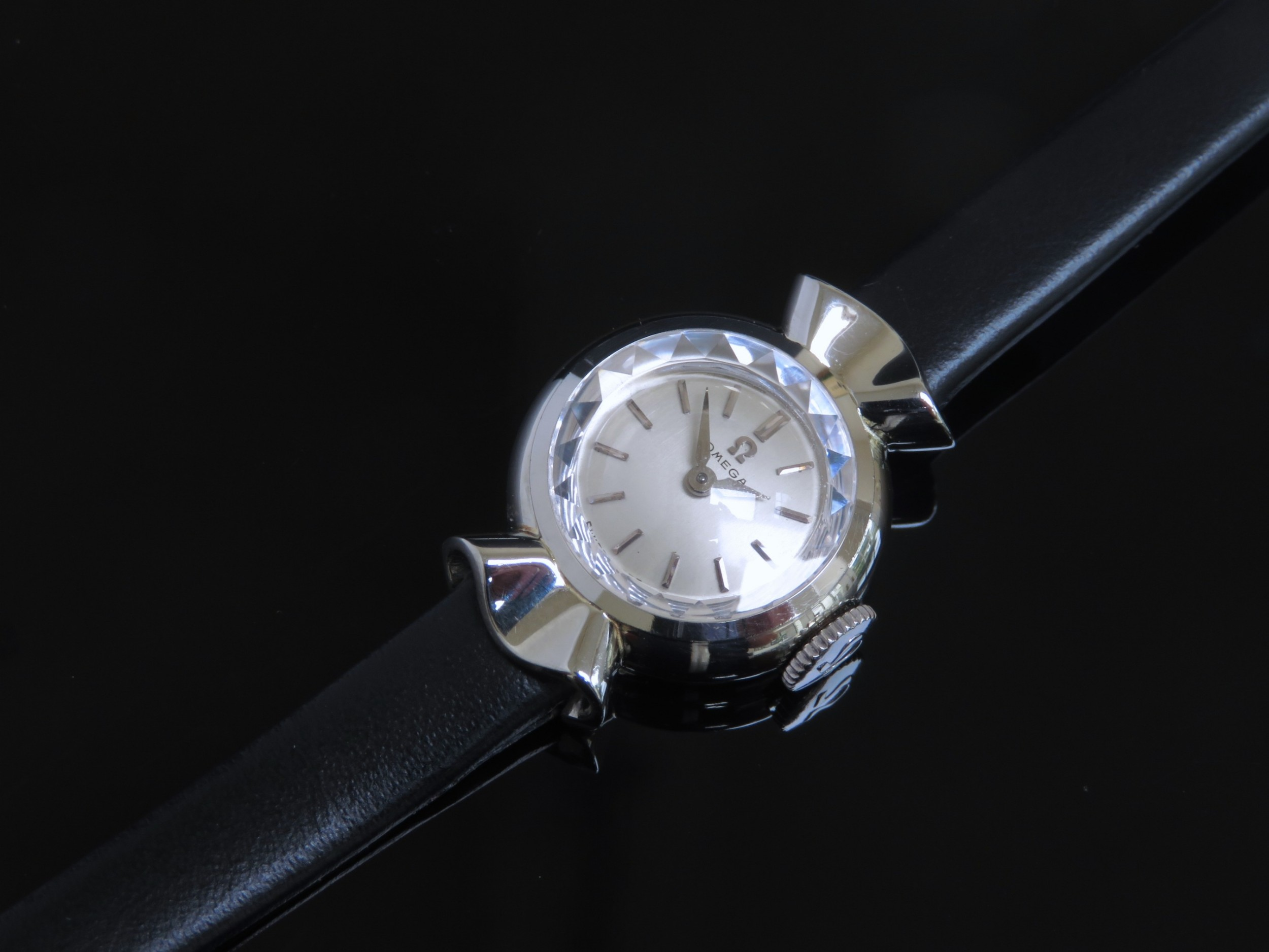 beautiful solid 18ct 18k white gold omega ladies cocktail watch c1955