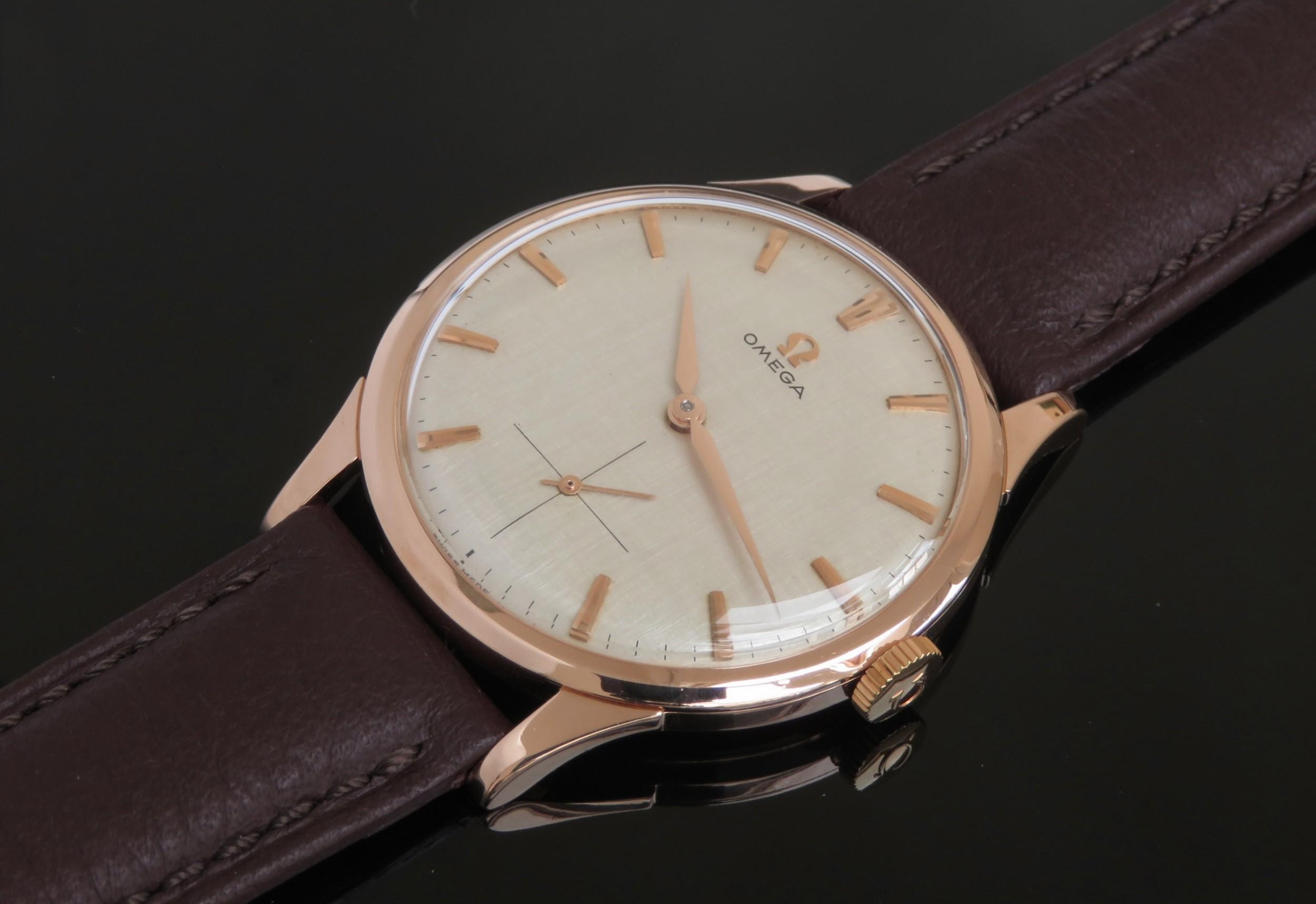mint condition solid 18ct 18k rose gold omega calibre 267 mens vintage watch c1960
