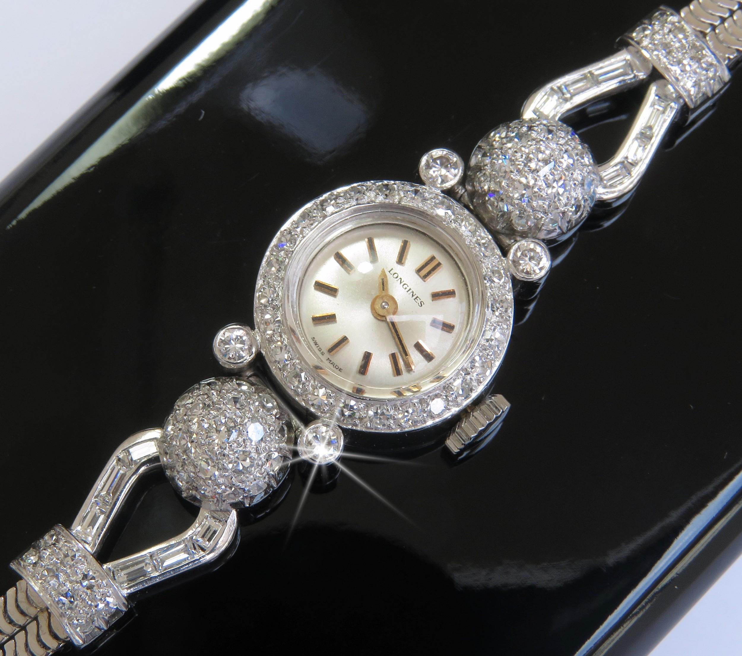stunning solid 18ct white gold and diamond longines ladies watch c1968
