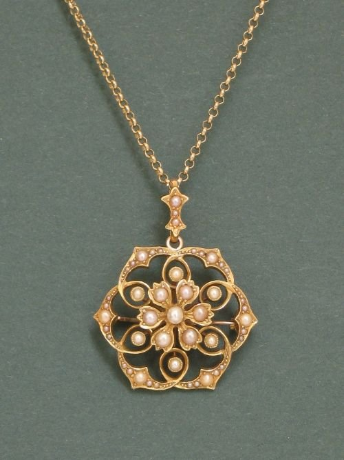 exquisite victorian 15ct gold and pearl snowflake pendant and brooch c1890