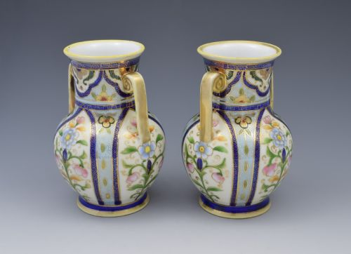 Pretty Pair Japanese Noritake Porcelain Vases C1920s 574457