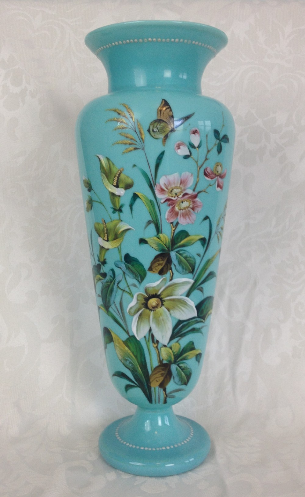 Stunning Large 15 Quot C19th Bohemian Turquoise Opaline Glass Vase Possibly Harrach Enamels Flowers