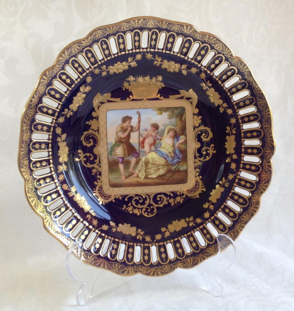 19thc vienna porcelain cabinet plate reticulated rim cupid lovers bindenschild shield mark