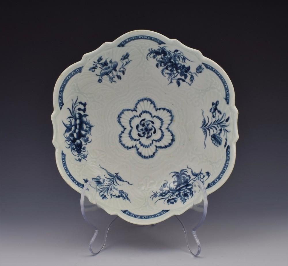 first period worcester porcelain blue white junket salad bowl c1770