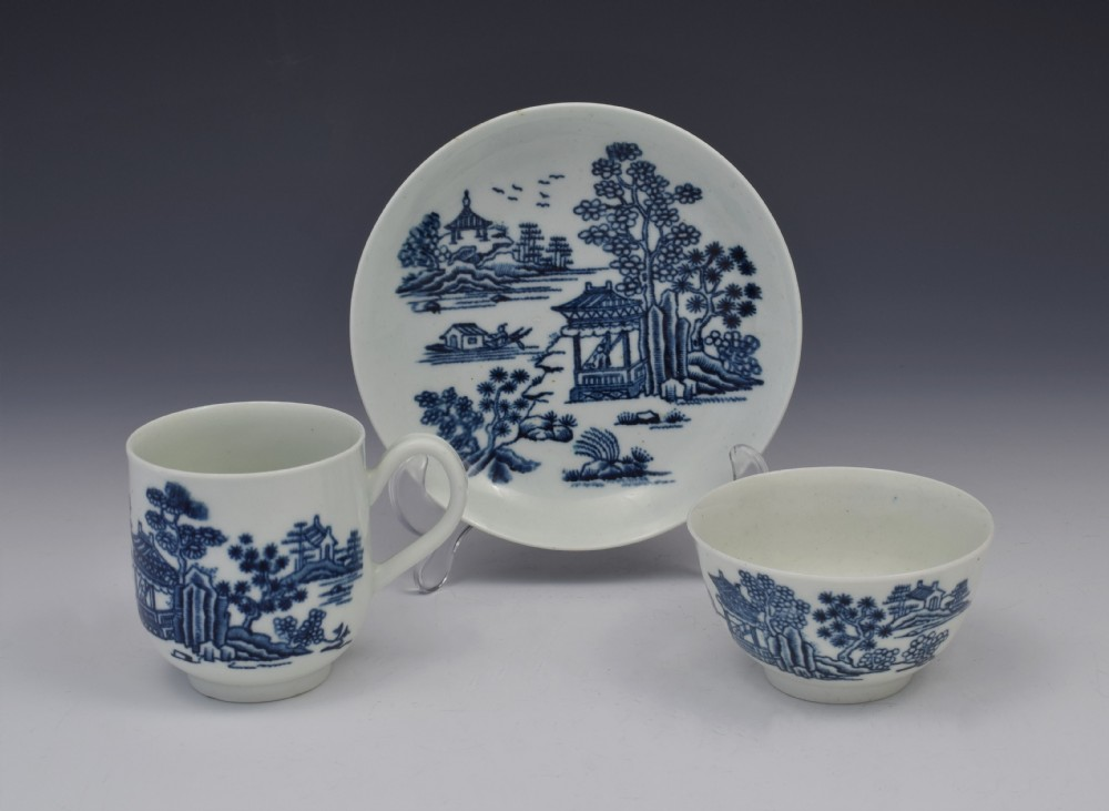 first period worcester the man in the pavilion pattern trio c1760