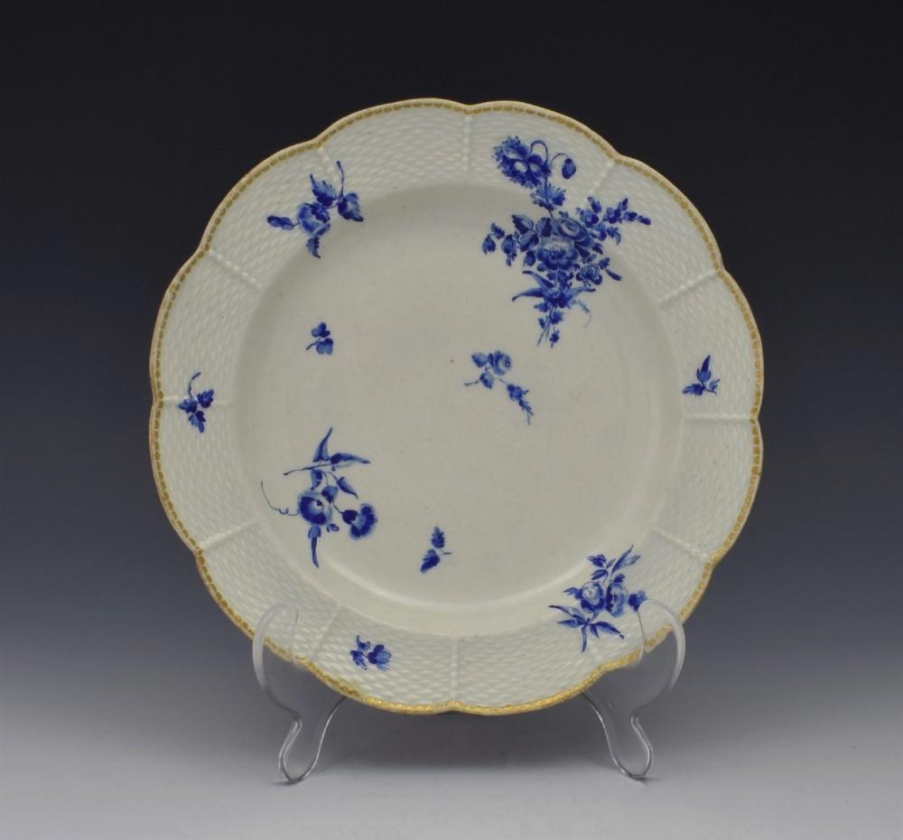 first period worcester dry blue lobed dessert plate c1775