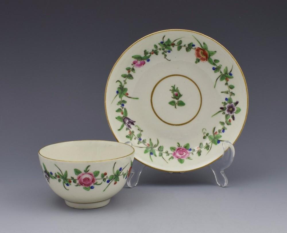 first period worcester pretty porcelain floral tea bowl saucer