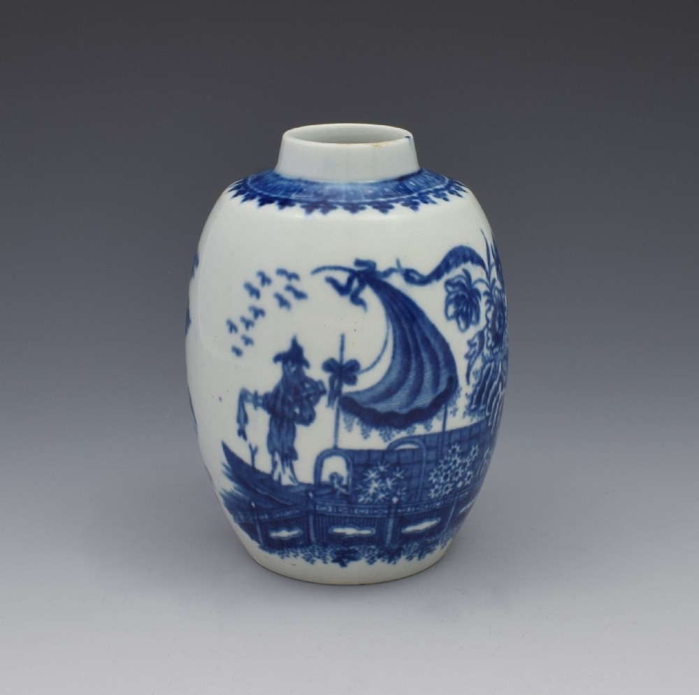 first period worcester tea caddy canister fisherman cormorant pattern
