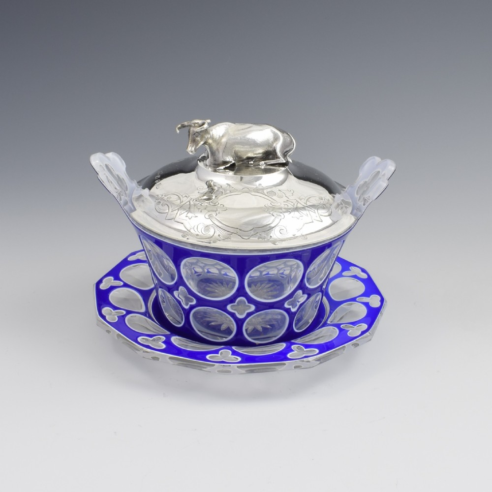 early victorian blue white overlay glass butter dish silver cow cover