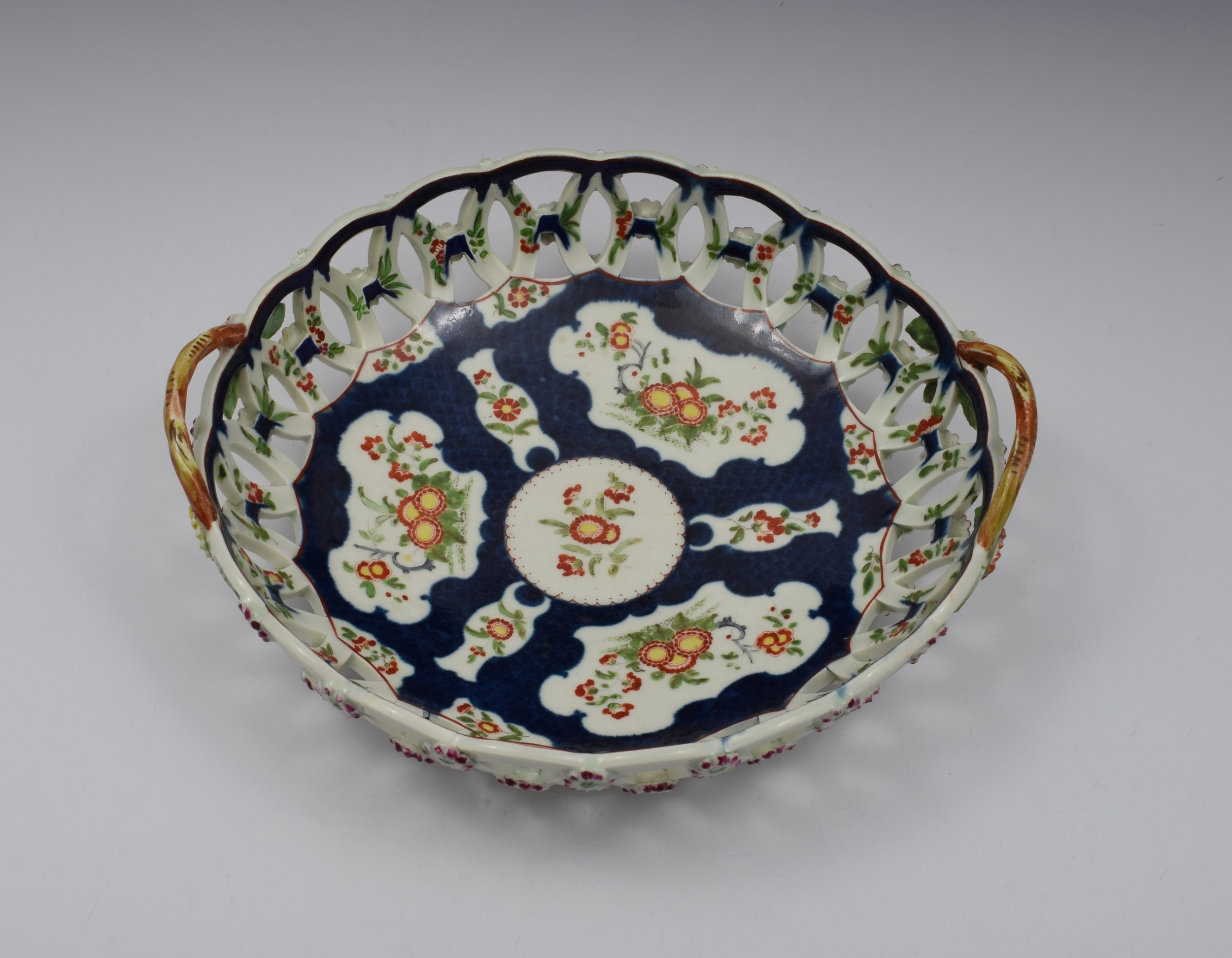 first period worcester porcelain large scale blue basket c1770