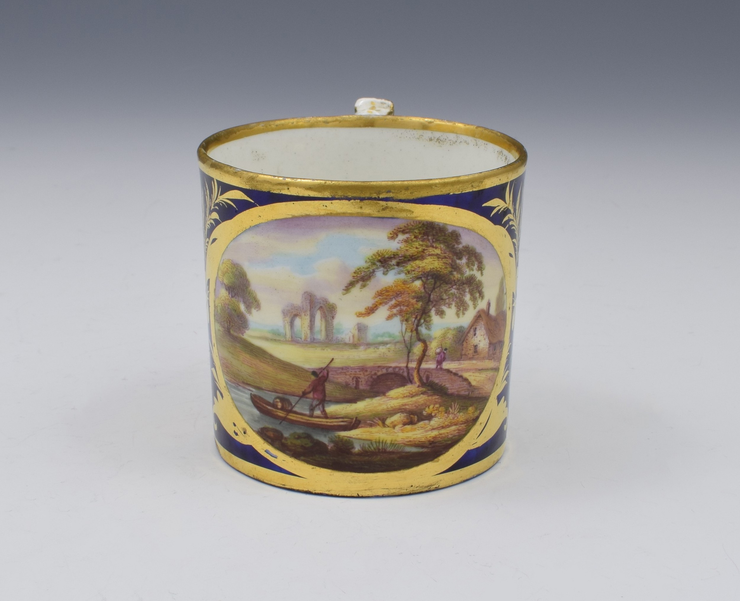 derby porcelain coffee can landscape scene abergeldie scotland named view