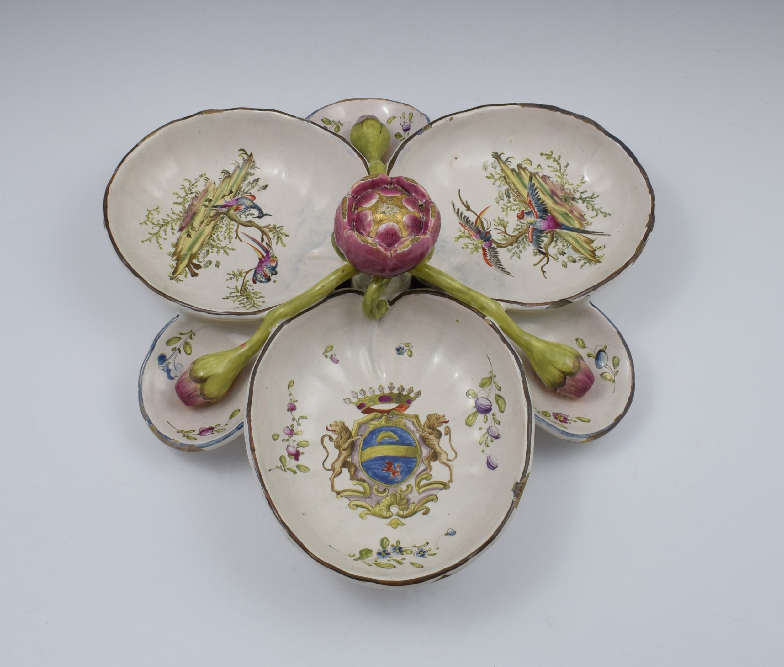large 19thc french faience sweetmeat hors d'oeuvres dish