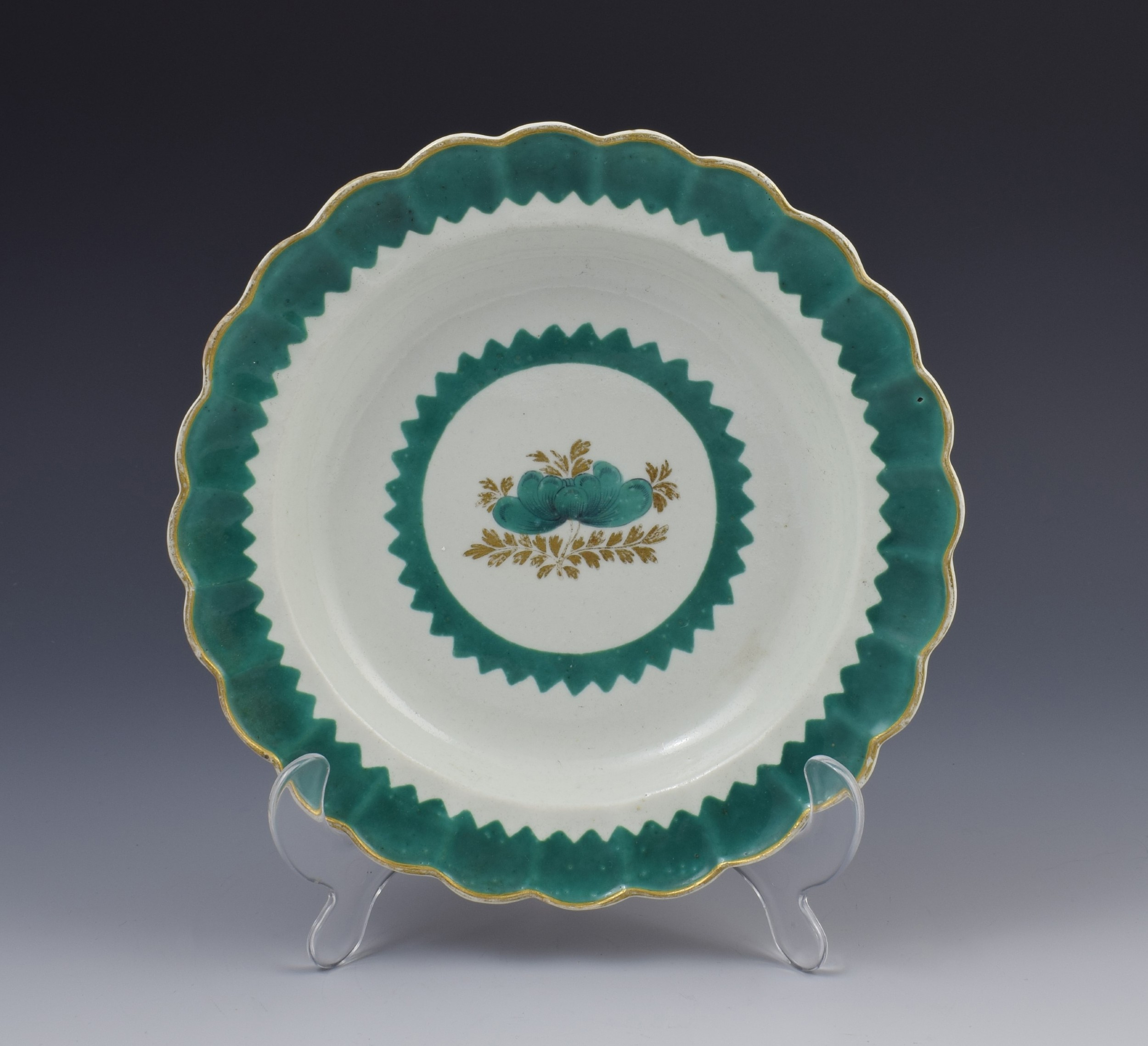 first period worcester porcelain french green plate dish c1770